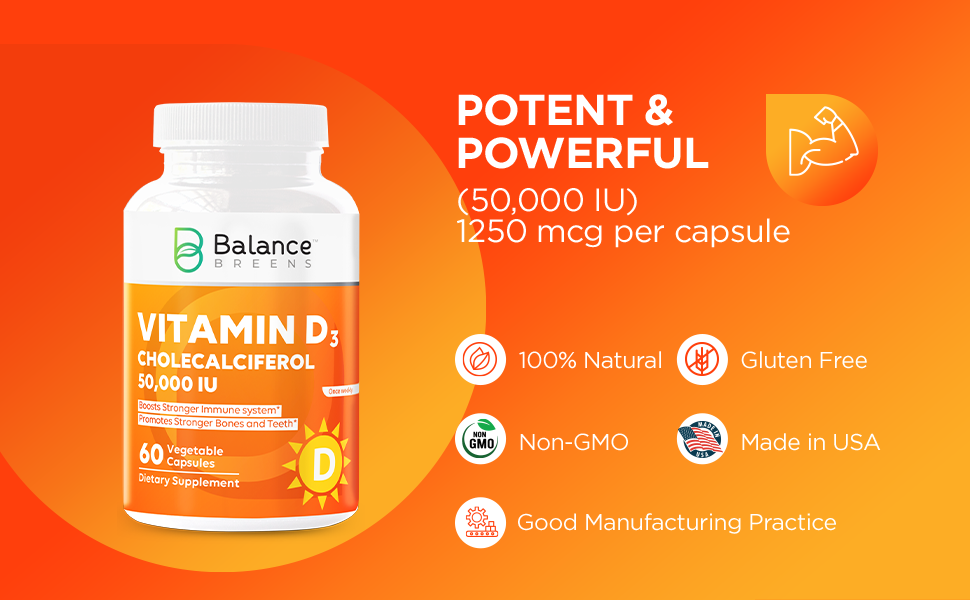 potent, powerful, 50000 iu, high dosage, natural, vegetable, veggie, capsule, made in USA