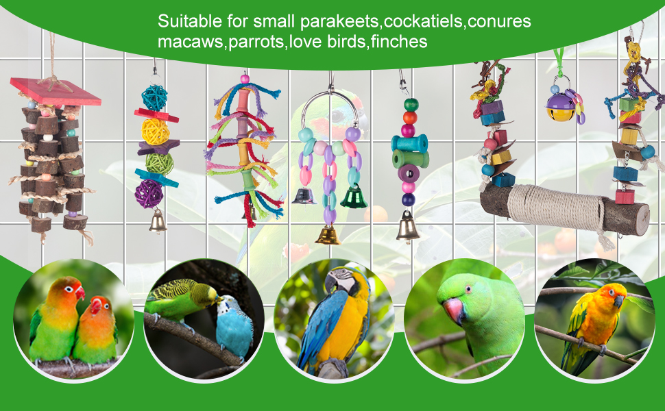 Suitable for small parakeets,cockatiels,conures Macaws,parrots,love birds,finches