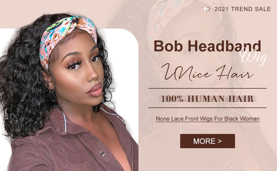 Headband wig short bob wigs non lace front wigs for black woman natural color Glueless bob wigs