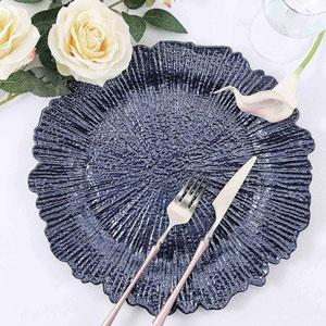 Reef Navy Blue Plastic Charger Plates