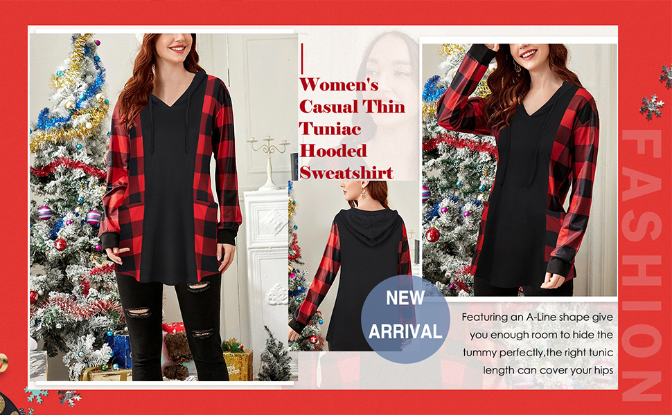 Womens Loose Pullover Tunics Long Sleeve Hooded Casual Soft Blouse Top Shirts