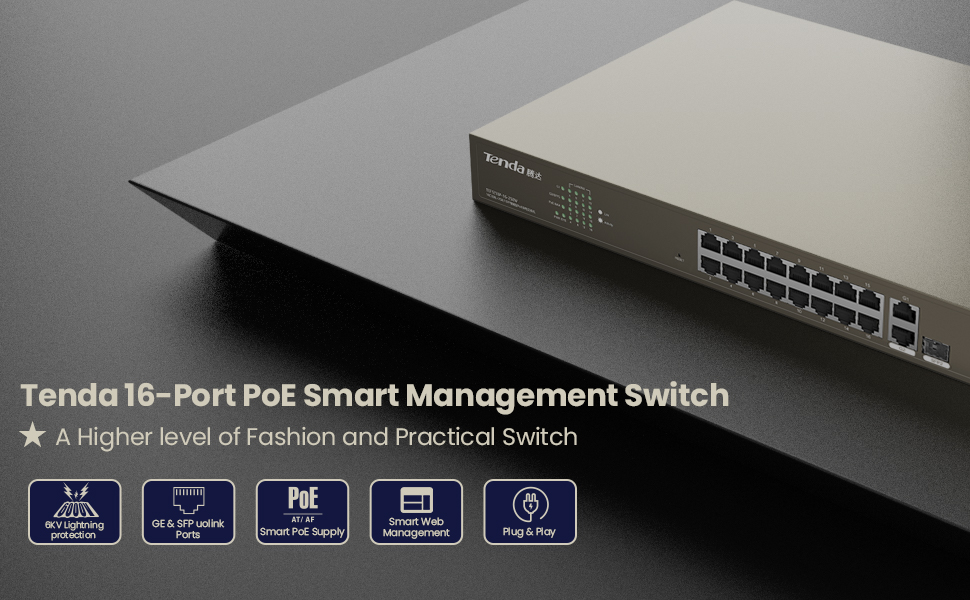 16 port poe smart management switch