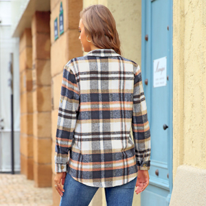 GRAPENT Women's Oversized Plaid Button Down Shirt Quilted Lined Shacket Jacket