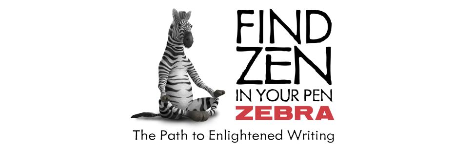 Zebra Pen banner with logo, find zen in your pen, writing tools and creative sets