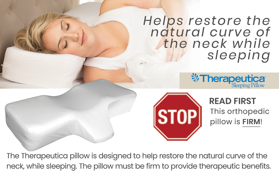 Therapeutica Pillow helps restore natural curve of the neck, Firm orthopedic pillow