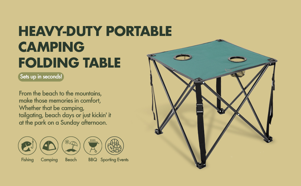 folding table camping cup holder heavy-duty hard frame beach outdoor pop up foldable