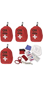 ASA Techmed 4-Pack CPR Rescue Mask, Pocket Resuscitator with One Way Valve