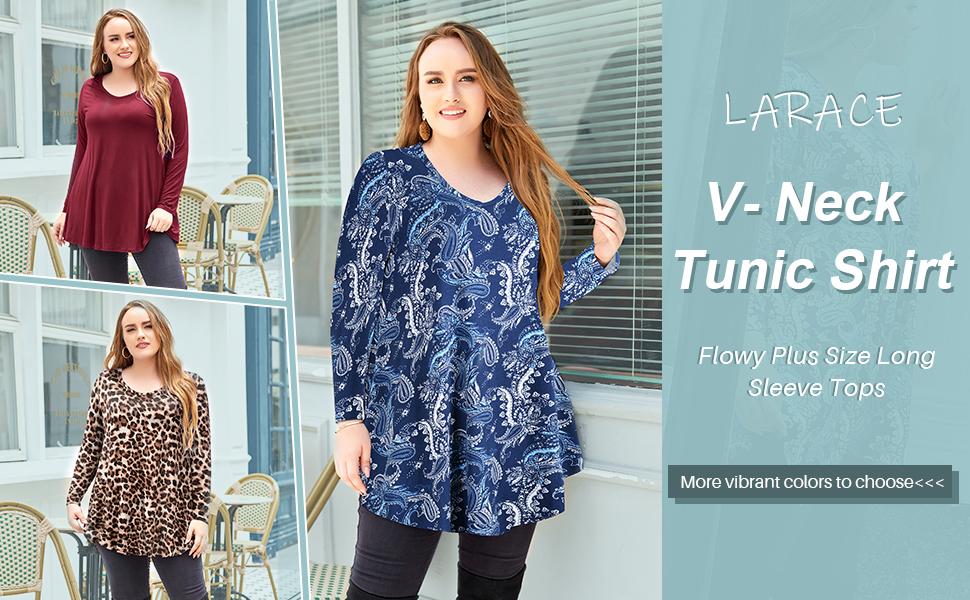 8056 LARACE Plus Size Long Sleeve Tunic Tops For Women For Leggings