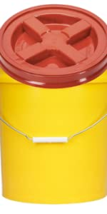 yellow bucket with red Gamma Lid