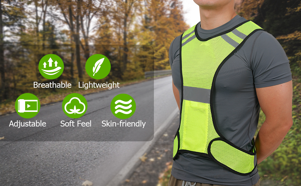 tccfcct reflective running vest, breathable, light weight, adjustable, soft feel, skin friendly