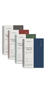 EMSHOI 4 Pack A5 Spiral Notebook Hardcover Grid Paper