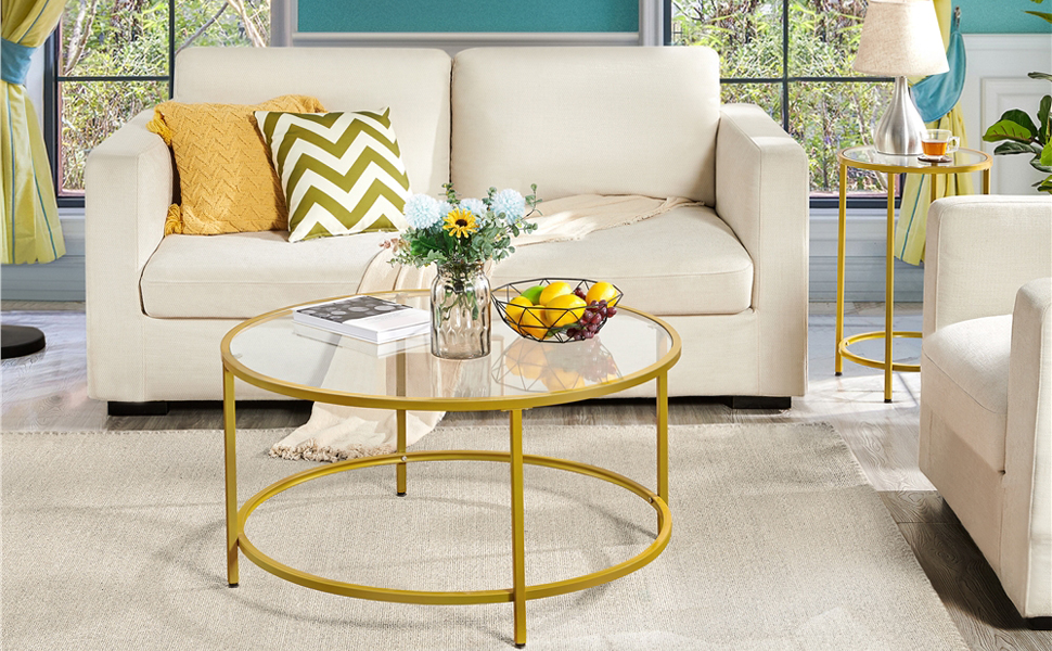 YAHEETECH Set of 2 Round Coffee Table amp; Accent End Table w/Modern Glass-Top