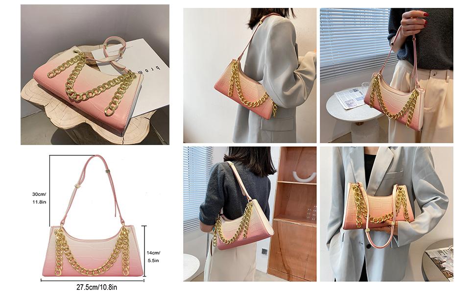 Crocodile Pattern Women Small Crocodile Tote Clutch Shoulder Handbag Purse Pink