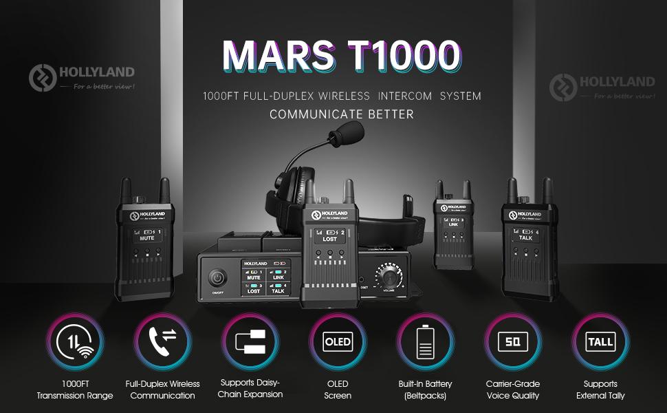 Hollyland Mars T1000 wireless intercom system