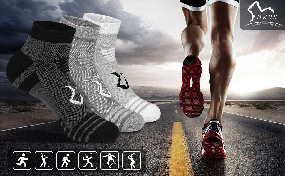 6 Pack Men's Running Ankle Socks with Cushion, Low Cut Athletic Socks