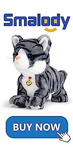 Electronic Plush Cat Pet, Touch Control(Gray)