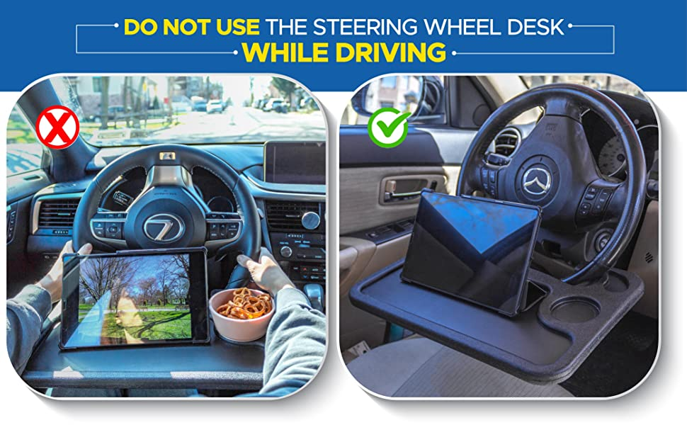EcoNour Steering Wheel Desk Tray Portable Wheelmate traveling table
