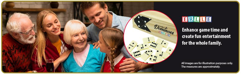 Double 6 Dominoes jumbo set game Premium classic 28 pieces duoble six domino Kids, boys girls Party
