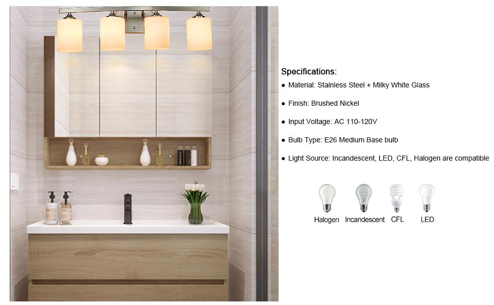 4 light vanity fixture vanity light fixture bathroom lighting vanity lighting brushed nickel