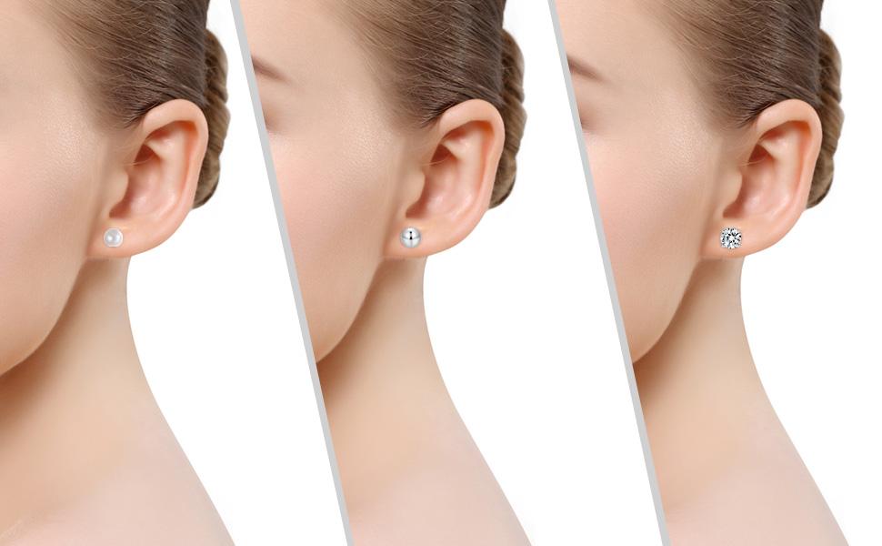 14K White Gold Plated Stud Earrings mart for Ball Women 3 - Men Pairs