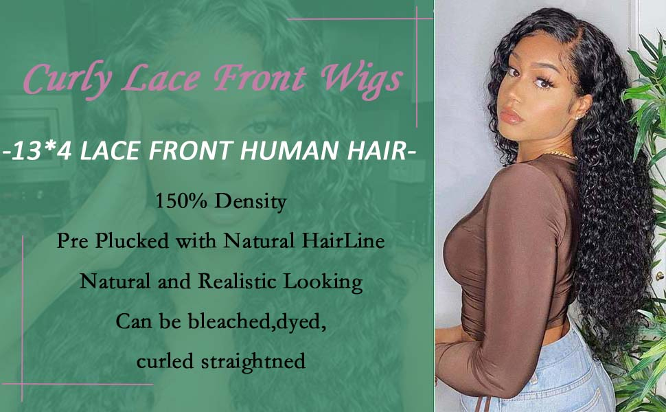 13*4 Curly lace front wigs huamn hair