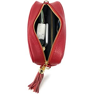 Borsa Donna a Tracolla, In Vera Pelle, Made in Italy, Borsetta Nera Piccola con Frange Elegante