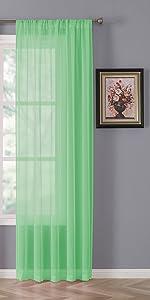 Tollpiz linen textured sheer curtains, mint green, set of 2 panels