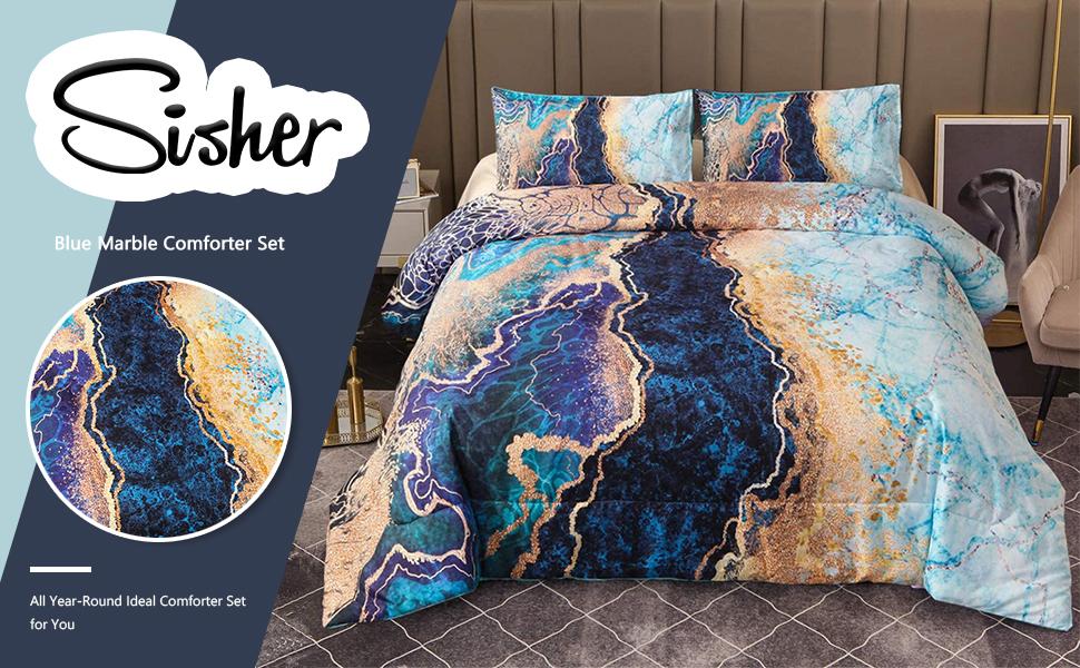 Blue Marble Comforter Set
