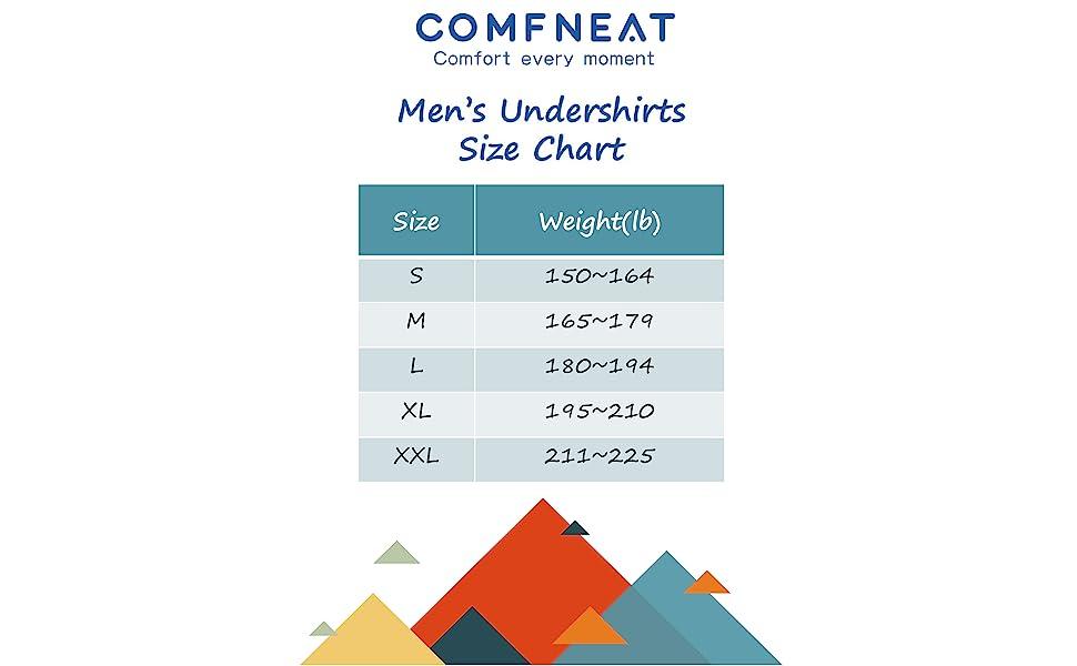 Undershirts Size Chart