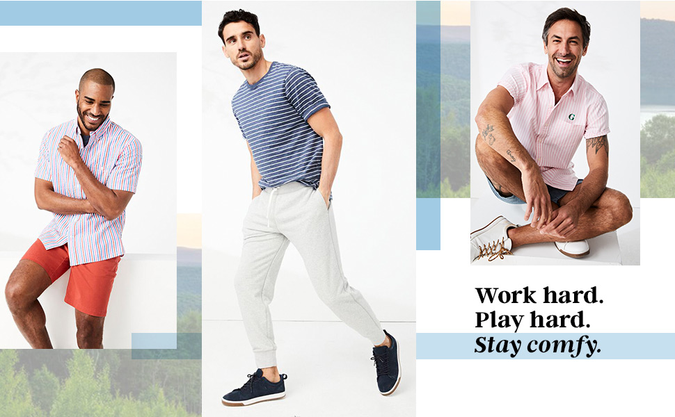 Three men pose in comfy summer t-shirts and button downs.