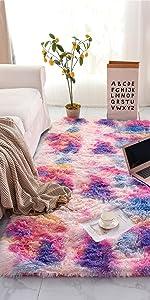 pink purple tie dye fluffy rug