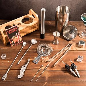 Complete cocktail shaker set bartender kit