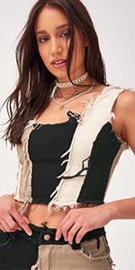 PAODIKUAI Womenamp;amp;#39;s Patch Frayed Denim Vest Cropped Tank Tops Sleeveless Shirts Blouses