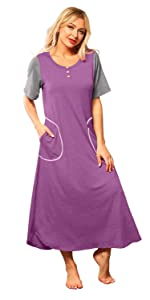 Womens Conservative Nightgown Short Sleeve Long Sleepwear with Button