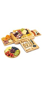 Cheese Board and Knife Set - 16 x 13 x 2 Inch