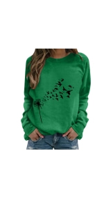 Dandelion Print Sweatshirts Tops Casual