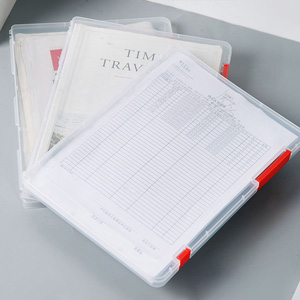 Portable A4 File Box Transparent Plastic Box Office Supplies Holder Document Paper Protector boxes