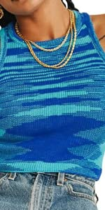 Knitted Tie Dye Tank Top Vest Sleeveless