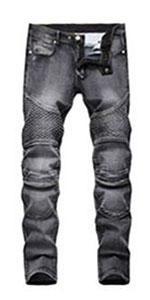 biker jeans ripped black for men skinny distressed destroyed slim fit motor holes hip hop