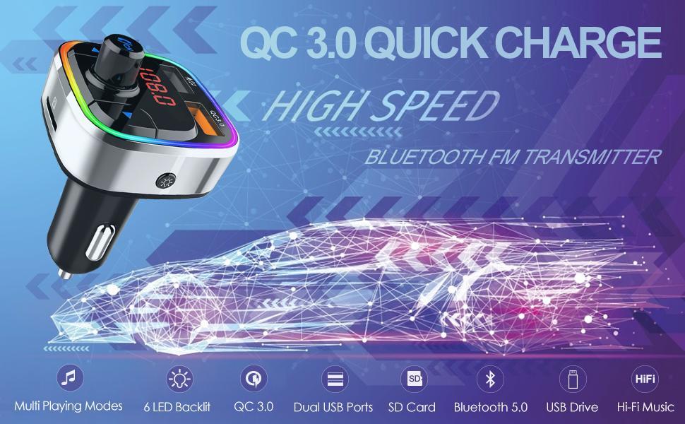 Feature rich Bluetooth 5.0 FM Transmitter