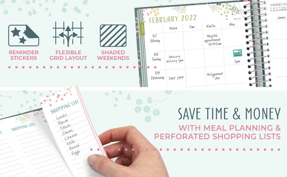 Close up of the weekly grid layout, shaded weekends and perforated shopping lists