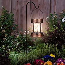 Solar lantern hanging in the yard