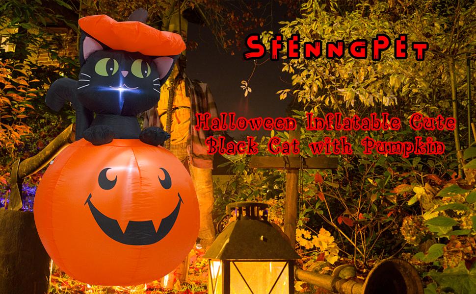 Inflatable Black cat amp; Pumpkin