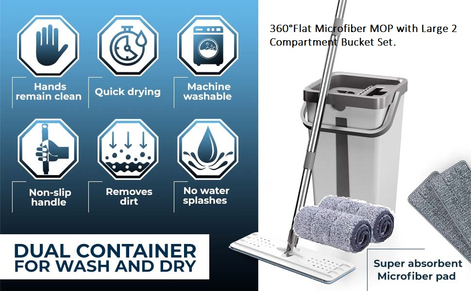 360°Flat Microfiber MOP with Large 2 Compartment Bucket Set