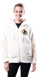 Ultra Game NFL Women's Soft Fleece Sherpa Hoodie Jacket
