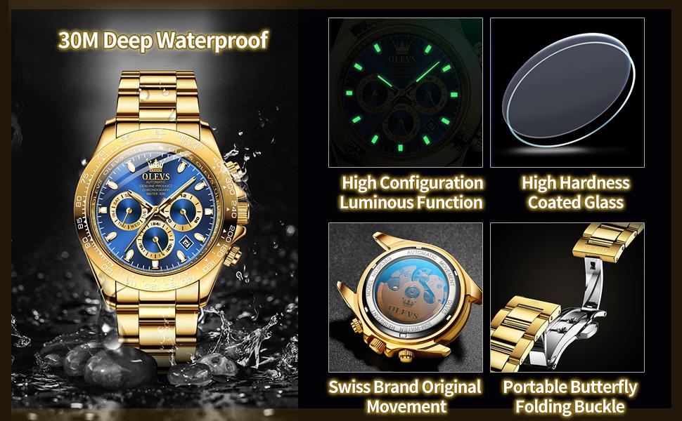Waterproof luminous calendar date big face men's watch