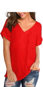women red v neck t shirts with pocket