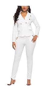Two Piece Blazer Long Pencil Pants Suits Set for Women