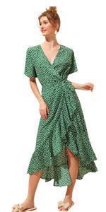 Floral Print Ruffle V Neck Wrap Short Sleeve Beach Maxi Dress