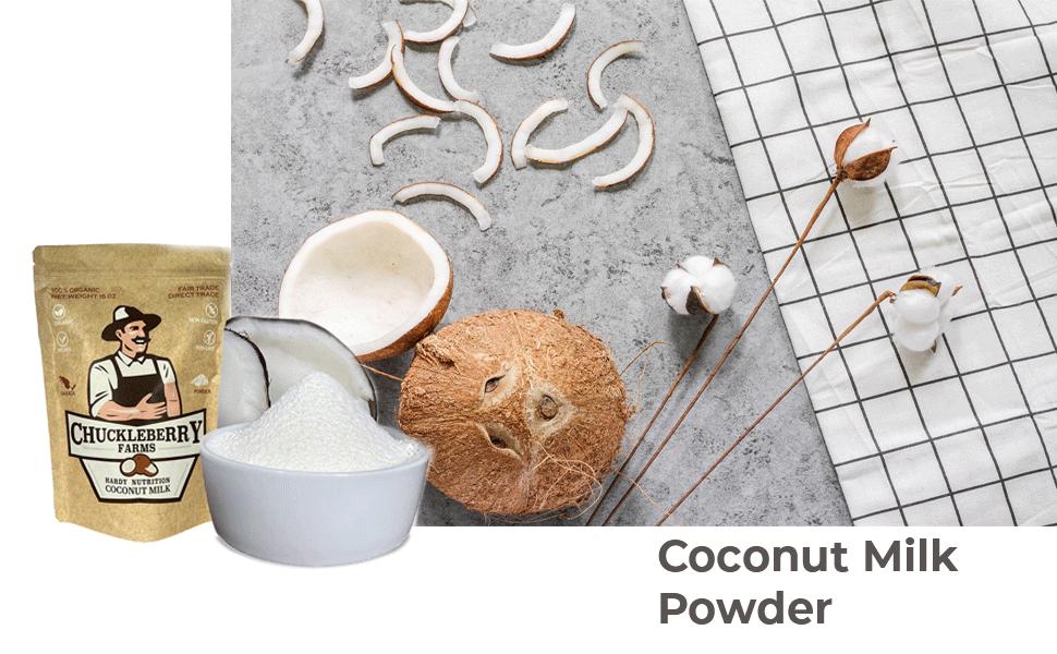 Chuckleberry Farms, Organic Coconut Milk Powder – All Natural Creamy Dairy Substitute Non GMO
